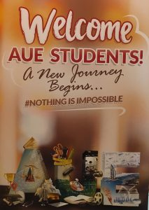 """AUE WELCOMING BOARD"""